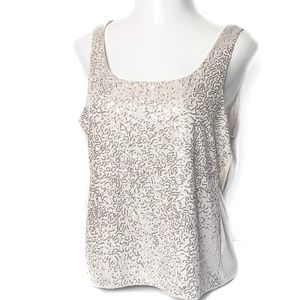 Talbots Tops - TALBOTS Gold Sequined Tank Top